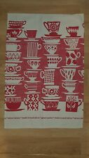 Skinny Laminx Vintage Coffee Cups Everyone Came to Tea Cotton Dish Towel Red