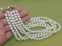 """5 pieces 8-9mm AA white round Freshwater genuine cultured Pearl necklace 17"""""""