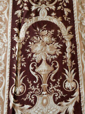 Antique 19thc French Rococo Floral Floral Roses Urn Cotton Fabric ~ Brown Camel