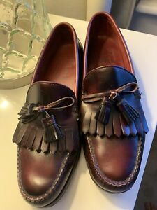 MENS TRICKERS OXBLOOD LEATHER SLIP ON TASSELL LOAFERS SHOES UK 9.5 E