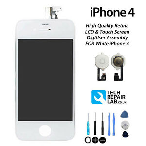 WHITE iPhone 4 Retina LCD & Digitiser Touch Screen Assembly Replacement NEW
