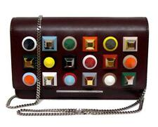 New Fendi Wallet On Chain Studded Leather Blueberry Messenger Clutch Bag