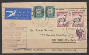 South Afriva 1955 Official Cover to USA