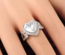 WOMENS 7 CARAT HEART DIAMOND STYLE DRESS RING SZ Q US 8 SILVER SWA CRYSTALS NEW