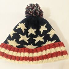 Vintage USA Beenie Vintage USA Hat Red, White, Blue Knit Hand Made Stars Stripes