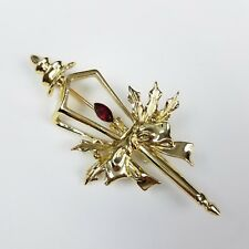Holly Ribbon Bow Lg Holiday Jewelry Christmas Lamp Post Brooch Pin Red Flame