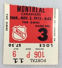 NHL 1972 11/02 Montreal Canadiens at Atlanta Flames Hockey Ticket Stub