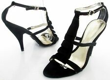 NEW DOROTHY PERKINS SIZE 6 WOMENS BLACK SUEDE STRAPPY ANKLE STRAPS SANDALS SHOES