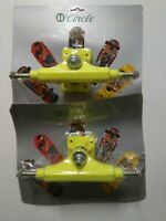 "2 x VINTAGE CIRCLE YELLOW SKATEBOARD TRUCKS IN BLISTER - OLD SCHOOL - 8.5"" NOS"