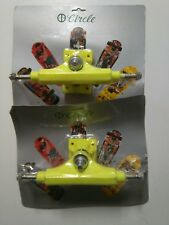 """2 x VINTAGE CIRCLE YELLOW SKATEBOARD TRUCKS IN BLISTER - OLD SCHOOL - 8.5"""" NOS"""