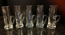 Set of 5 Etched Shot Glasses- Very Nice