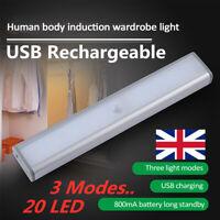 20 LED USB Rechargeable Motion Sensor Closet Lights Wireless Under Cabinet Light