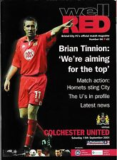 Football Programme>BRISTOL CITY v COLCHESTER UNITED Sept 2001