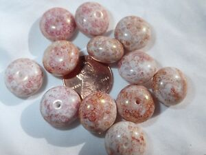 12  Pink Picasso 9.5 x 14 mm Fat rondell/spacer  Czech pressed glass beads BBB