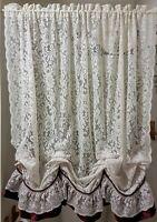 Floral Lace Ballon Curtain Panel Dark Red Trim VTG no ties Bathroom Home Decor