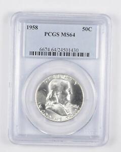 1958 MS64 Franklin Half Dollar - 90% SILVER - PCGS Graded *965