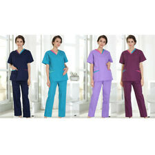 Hot Workwear Women Scrub Suit V-Neck Style Doctor Nurse Lab Ventilate Tops Pants