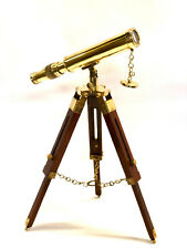 "Brass Telescope On a Wooden Tripod Stand 18"" Tube Length  ~ Maritime"
