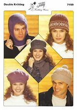 7159 Double Knitting Pattern for Balaclava, Hats & Scarf