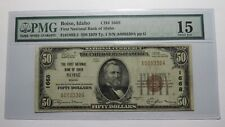$50 1929 Boise City Idaho ID National Currency Bank Note Bill Ch. #1668 F15 PMG