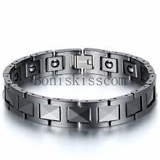 Men's Black Ceramic Link Power Energy Magnetic Therapy Balls Bracelet Cuff