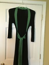 KARA JANX (Project Runway) Kimono Dress Rare Size Small Wrap Dress Black & Green