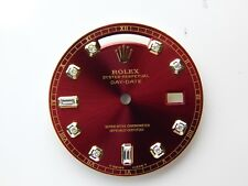 Rolex Mens Day-Date Yellow Gold Red Color Dial with 10 Round Diamond