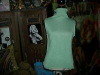 WHITE + WARREN Wonderful Sage Green Knit Turtleneck Blouse Size S