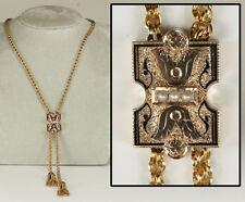 Antique Slide Necklace Engraved, Enameled, Tasseled: Divine Condition!
