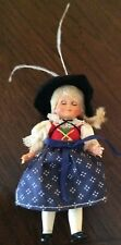"""Vintage 4 1/2"""" all Vinyl Doll Jointed Arms Legs Original Dress Feathered Hat!"""