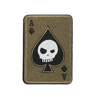Ace Of Spades Death Skull Card USA Army Tactical Morale Calico Hook Loop Patch T