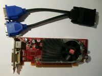 AMD ATI Radeon HD 2400XT PCI-E & Dual Monitor DVI or VGA Adapter Low Profile GPU