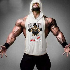 Men Fitness Hooded Tanktop Gym Sleeveless Bodybuilding Shirt Workout Hooded Vest