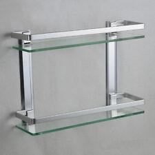 Aluminum Shelves Wall-Mounted Double Bathroom Rectangle Glass Shelf 952HC