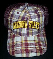 The Game Hat Baseball Cap Plaid Red White Arizona State NWT