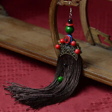 Brown Tassel & Gold Plated Fan Shape Earring with Chinese Silk Gift Bag UK