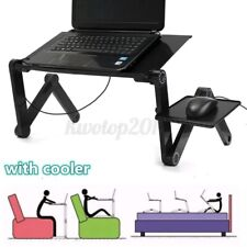 US Adjustable Foldable Laptop PC Desk Table Vented Stand Bed Tray w/ Cooling Fan