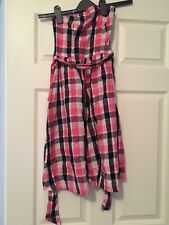 H&M Strapless dress - pink, black and white large gingham check. Size 8