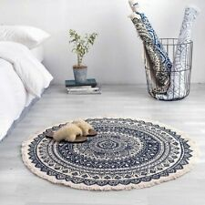 Boho Style Tassel Round Carpet Hand Woven Classic Tapestry Floor Mat Cotton Rug