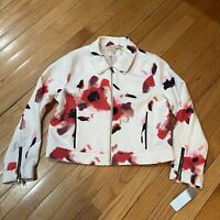 Philosophy White Floral Spring Jacket Cropped Full Zip Size S NWT