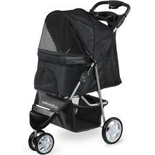Pet Stroller Cat Dog 3 Wheel Walk Jogger Travel Folding Carrier Black
