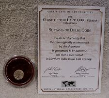 Sultans of Delhi Coin - 14th Century Silver - COA on Information Card