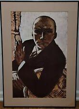 Vintage 1970's Max Beckmann Self Portrait in Black Lithograph Print Poster