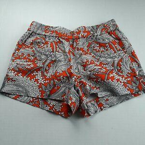 J. Crew Womens Pull-On Shorts Size 2 Orange Black White Paisley Print Pockets