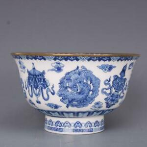 Chinese Jingdezhen Porcelain Blue and White 8 Auspicious Symbol Bowl
