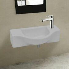 Compact Ceramic Bathroom Cloakroom Sink Basin with Faucet Hole White Wall Hung