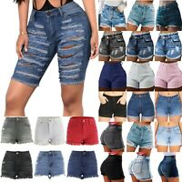 Women Ripped Denim Shorts Jeans High Waist Skinny Stretch Summer Mini Hot Pants