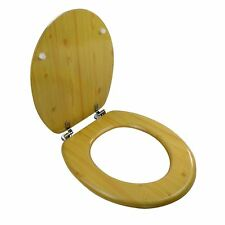 """New 18"""" Wooden Toilet Seat MDF Universal Bathroom WC With Hinges Easy Fit"""