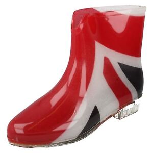 Damen Spot On Union Jack Knöchel Wellingtons Stiefel x1195