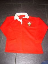 WALES RUGBY UNION SHIRT SIZE 26 CHEST EMBROIDERD THREE FEATHERS BADGE